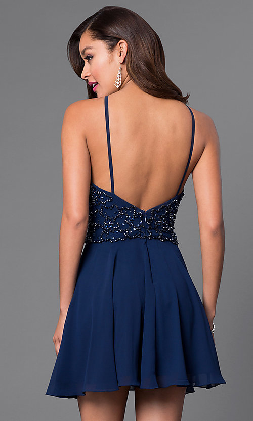 Image of short homecoming party dress with beaded bodice. Style: JO-JVN-JVN41683 Back Image