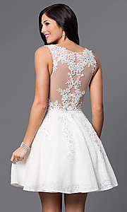 Image of short lace-applique v-neck homecoming party dress. Style: JO-JVN-JVN45264 Back Image