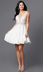 Image of short lace-applique v-neck homecoming party dress. Style: JO-JVN-JVN45264 Detail Image 1