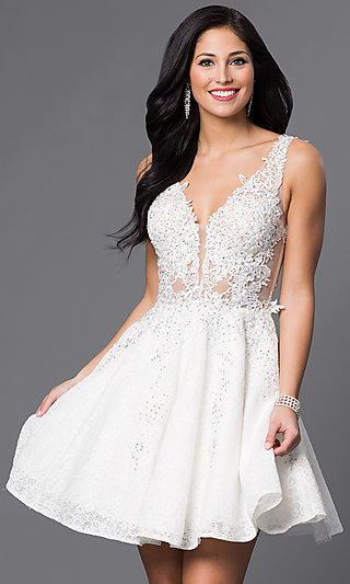 LWD, Little White Dresses, Short White Party Dresses