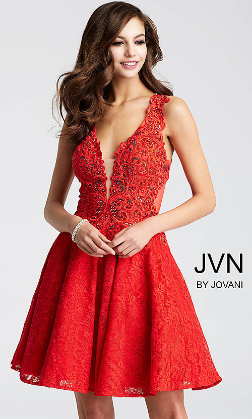 Image of short lace-applique v-neck homecoming party dress. Style: JO-JVN-JVN45264 Detail Image 2