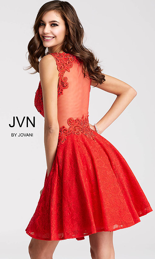 Image of short lace-applique v-neck homecoming party dress. Style: JO-JVN-JVN45264 Detail Image 3