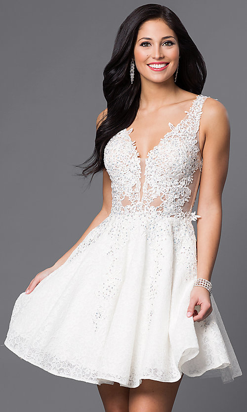 Image of short lace-applique v-neck homecoming party dress. Style: JO-JVN-JVN45264 Front Image