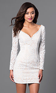 Image of beaded short lace party dress with long sleeves. Style: JO-JVN-JVN41692 Front Image