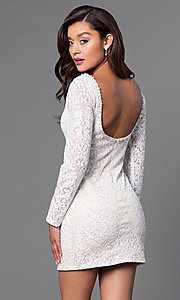 Image of beaded short lace party dress with long sleeves. Style: JO-JVN-JVN41692 Back Image