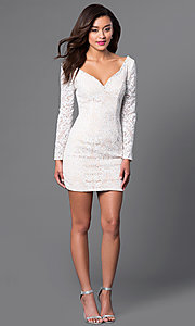 Image of beaded short lace party dress with long sleeves. Style: JO-JVN-JVN41692 Detail Image 1
