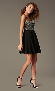 Image of jewel-embellished short sweetheart homecoming dress. Style: JO-JVN-JVN47310 Detail Image 4