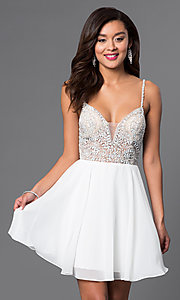 Image of jewel-embellished short sweetheart homecoming dress. Style: JO-JVN-JVN47310 Front Image