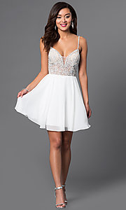 Image of jewel-embellished short sweetheart homecoming dress. Style: JO-JVN-JVN47310 Detail Image 1
