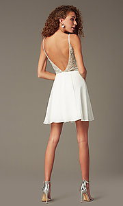 Image of jewel-embellished short sweetheart homecoming dress. Style: JO-JVN-JVN47310 Back Image