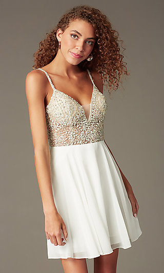 Jewel-Embellished Short Sweetheart Homecoming Dress