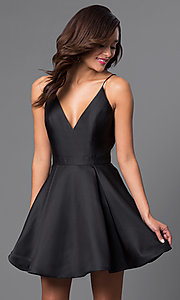 Image of v-neck JVN by Jovani designer homecoming dress. Style: JO-JVN-JVN47315 Detail Image 2