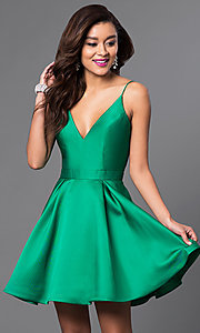 Image of v-neck JVN by Jovani designer homecoming dress. Style: JO-JVN-JVN47315 Detail Image 3