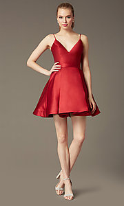 Image of v-neck JVN by Jovani designer homecoming dress. Style: JO-JVN-JVN47315 Detail Image 1