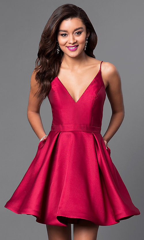Image of v-neck JVN by Jovani designer homecoming dress. Style: JO-JVN-JVN47315 Front Image