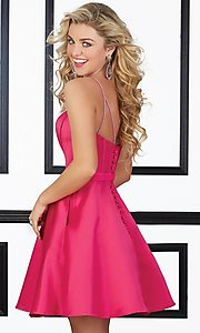 Image of short sweetheart satin homecoming dress with pockets. Style: ML-9406 Back Image