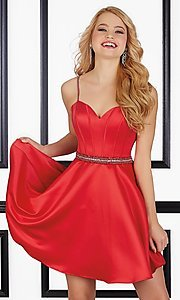 Image of short sweetheart satin homecoming dress with pockets. Style: ML-9406 Front Image