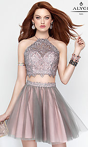 Image of open-back short two-piece lace-up homecoming dress. Style: AL-3685 Front Image