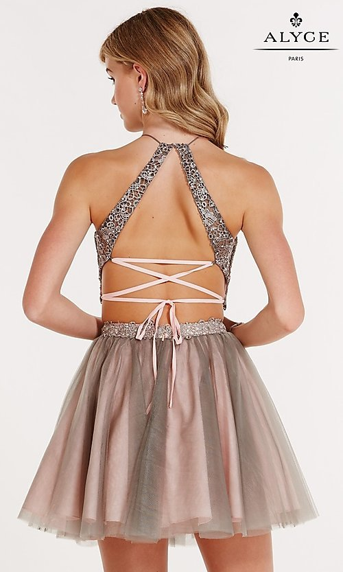 Image of open-back short two-piece lace-up homecoming dress. Style: AL-3685 Back Image
