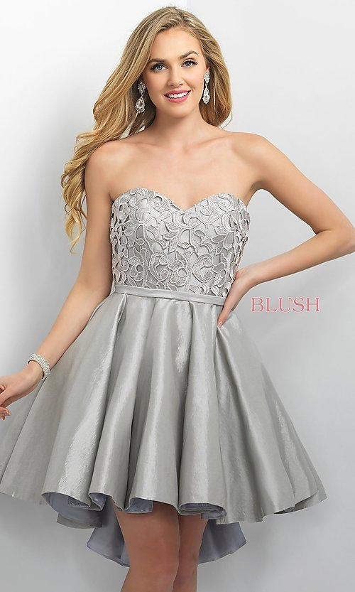Image of Blush short prom dress with high-low skirt. Style: BL-11167 Front Image