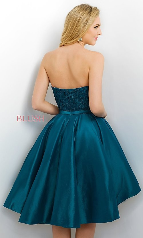 Image of Blush short prom dress with high-low skirt. Style: BL-11167 Back Image