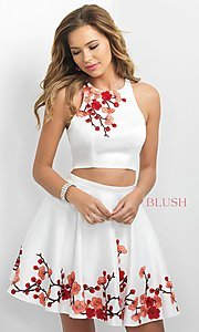 Image of two-piece homecoming party dress with embroidery. Style: BL-IN-217 Front Image