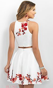 Image of two-piece homecoming party dress with embroidery. Style: BL-IN-217 Back Image