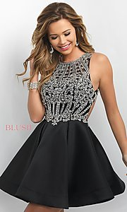 Image of open-back short party dress from Intrigue by Blush. Style: BL-IN-220 Front Image