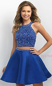 Image of two-piece Intrigue by Blush homecoming dress. Style: BL-IN-227 Front Image