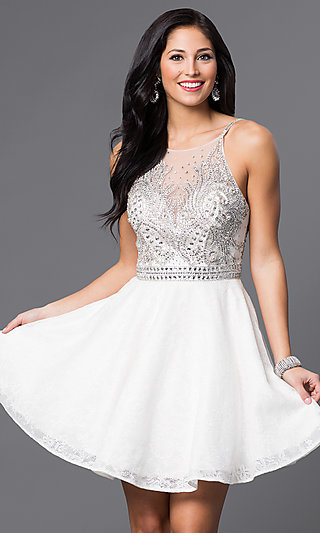 88b16fb4418 Jeweled-Bodice Short White Homecoming Dress