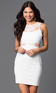 Image of short white rehearsal-dinner dress with lace. Style: CL-di238w Detail Image 1