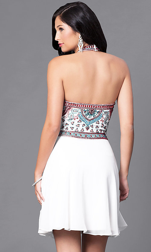 a67f45f3f6 Image of embellished halter semi-formal party dress. Style  SK-1085-