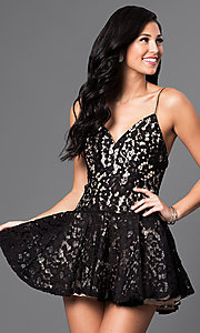 Image of v-neck spaghetti-strap short lace dress Style: LUX-LD2272 Front Image