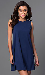 Image of sleeveless blue short shift dress. Style: JU-TI-88362 Front Image