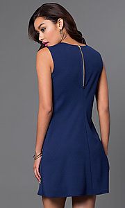 Image of sleeveless blue short shift dress. Style: JU-TI-88362 Back Image