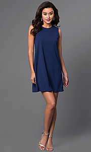 Image of sleeveless blue short shift dress. Style: JU-TI-88362 Detail Image 1