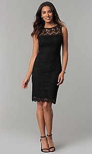 Image of short navy blue lace day-to-night party dress. Style: JU-TI-88524 Detail Image 2
