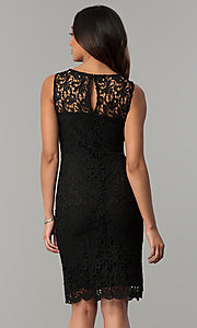 Image of short navy blue lace day-to-night party dress. Style: JU-TI-88524 Back Image