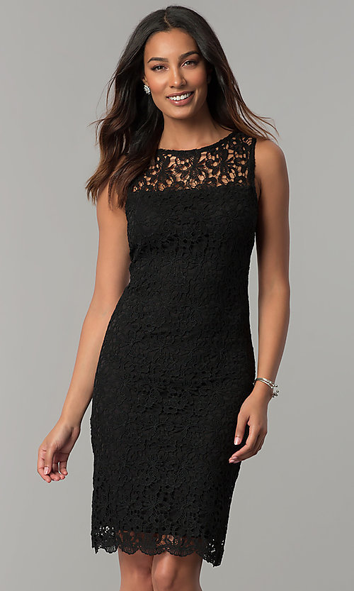 a1f845da45a2 Image of short navy blue lace day-to-night party dress. Style