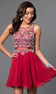 Image of short sleeveless mock two-piece dress. Style: DQ-9550 Front Image
