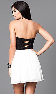 Image of short semi-formal party dress in black and ivory. Style: SS-d65201hvf Back Image