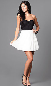 Image of short semi-formal party dress in black and ivory. Style: SS-d65201hvf Detail Image 1