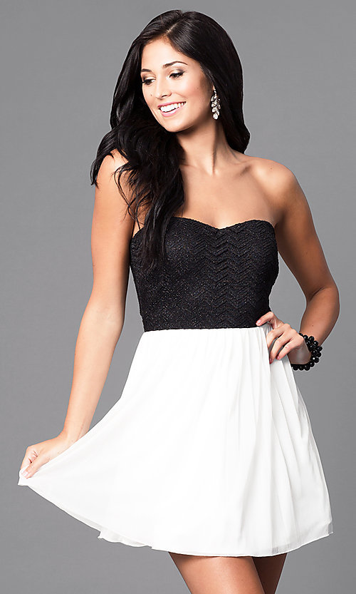 Image of short semi-formal party dress in black and ivory. Style: SS-d65201hvf Front Image