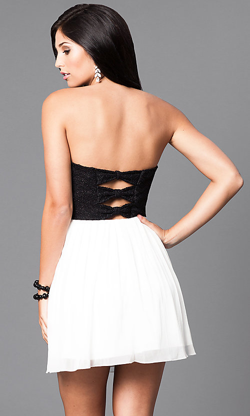Short Strapless Black And Ivory Party Dress