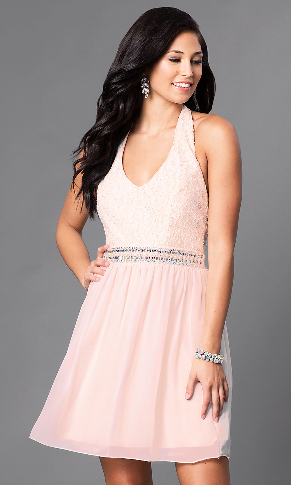 Short V Neck Lace Bodice Blush Pink Halter Dress