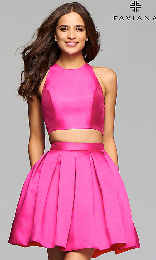 Image of two-piece Faviana homecoming dress with pockets. Style: FA-7858 Front Image