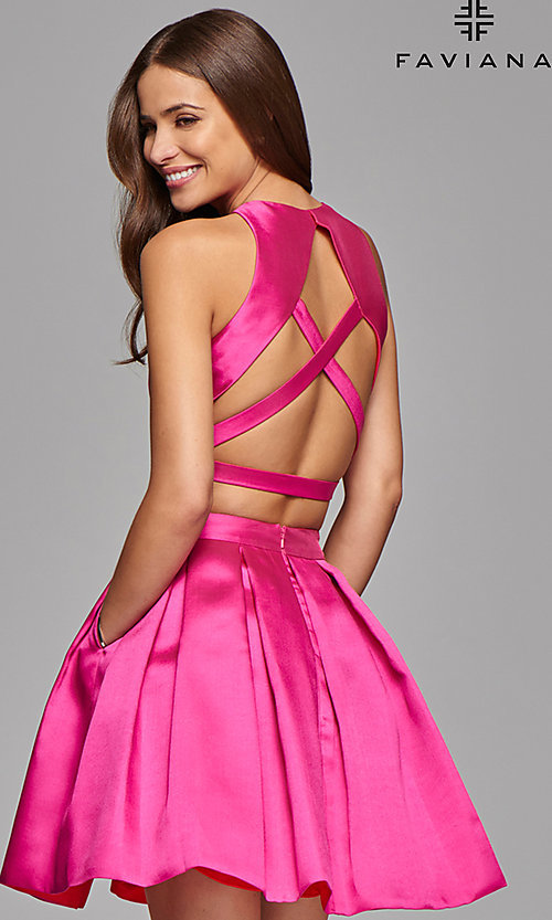 Image of two-piece Faviana homecoming dress with pockets. Style: FA-7858 Back Image