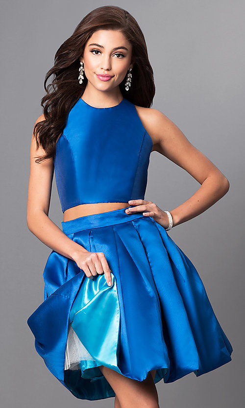 Image of two-piece Faviana homecoming dress with pockets. Style: FA-7858 Detail Image 2