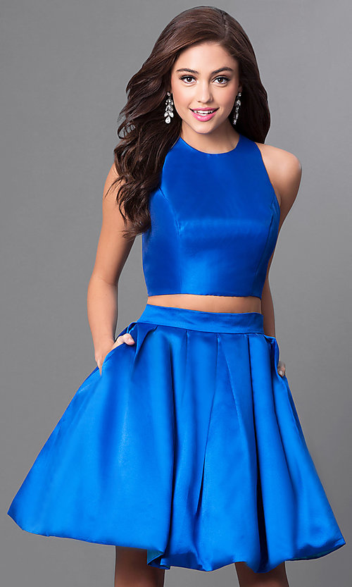 Image of two-piece Faviana homecoming dress with pockets. Style: FA-7858 Detail Image 1