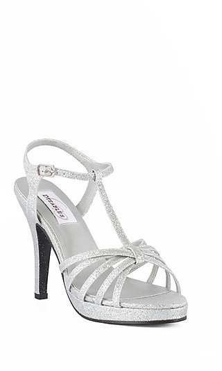 Silver Dress Shoes, Designer Prom Heels in Silver
